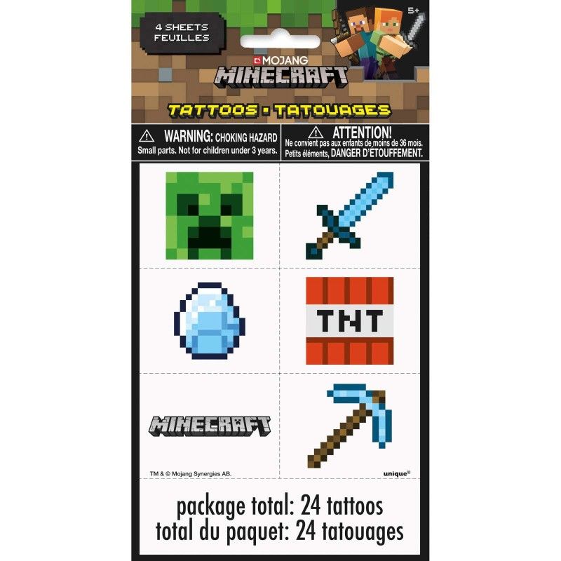 Minecraft Party Tattoos (Set of 24)