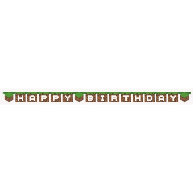 Minecraft Happy Birthday Party Banner