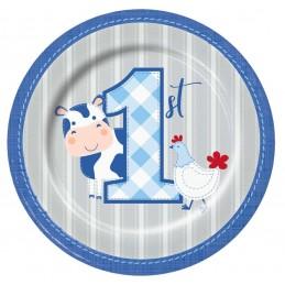 Blue Farmhouse 1st Birthday Small Plates (Pack of 8) | Blue Farm 1st Birthday Party Supplies