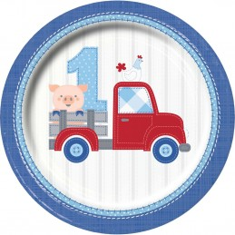 Blue Farmhouse 1st Birthday Large Plates (Pack of 8) | Blue Farm 1st Birthday Party Supplies