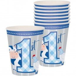 Blue Farmhouse 1st Birthday Paper Cups (Pack of 8) | Blue Farm 1st Birthday Party Supplies