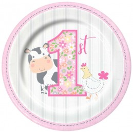 Farm 1st Birthday Girl Small Plates (Pack of 8)
