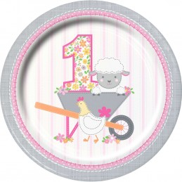 Farm 1st Birthday Girl Large Plates (Pack of 8)