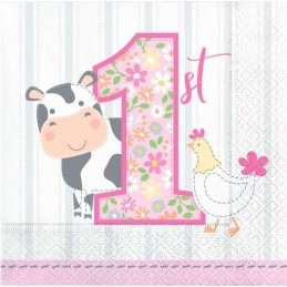 Farm 1st Birthday Girl Small Napkins (Pack of 16)