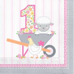 Farm 1st Birthday Girl Large Napkins (Pack of 16)