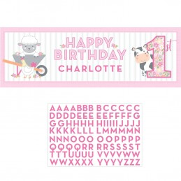Farm 1st Birthday Girl Giant Personalised Banner