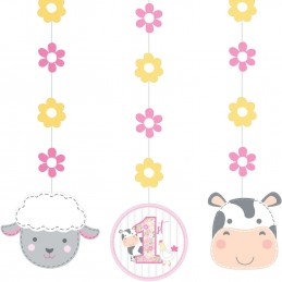 Farm 1st Birthday Girl Hanging Swirls (Set of 3)