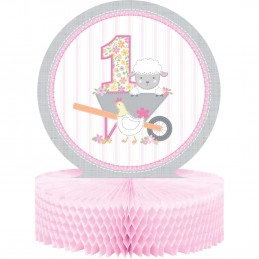 Farm 1st Birthday Girl Honeycomb Centrepiece