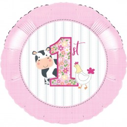 Farm 1st Birthday Girl Foil Balloon