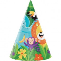 Animal Jungle Party Hats (Pack of 8)