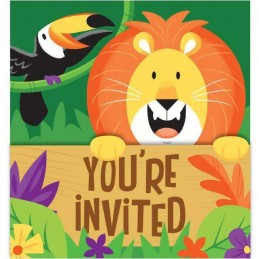 Animal Jungle Birthday Invitations (Pack of 8)